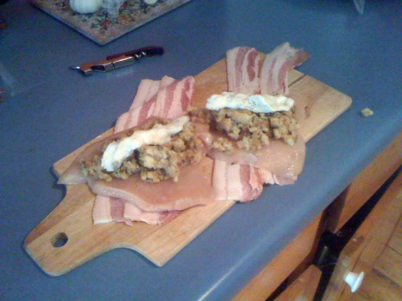 Bacon Wrapped Stuffed Chicken Breast with Blue Cheese - Baked